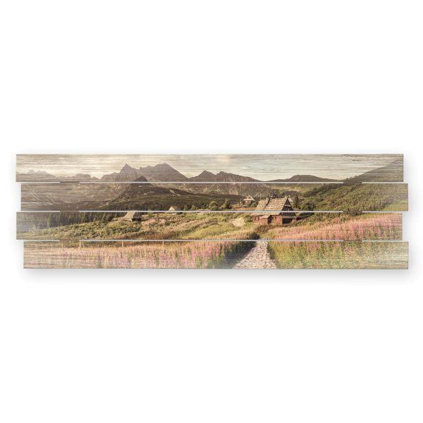 Berghütte | Shabby chic Holzbild | ca.100x30cm