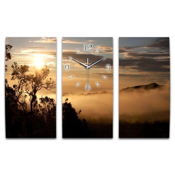 3 Teilige Wanduhr Sonnenaufgang XXL aus Aluminium mit leisem Funkuhrwerk