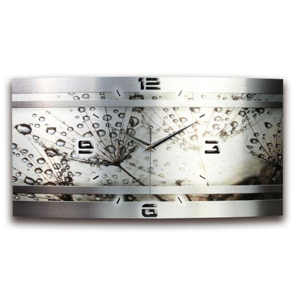 Wanduhr Pusteblume Metallic aus gebürstetem Aluminium mit leisem Funkuhrwerk