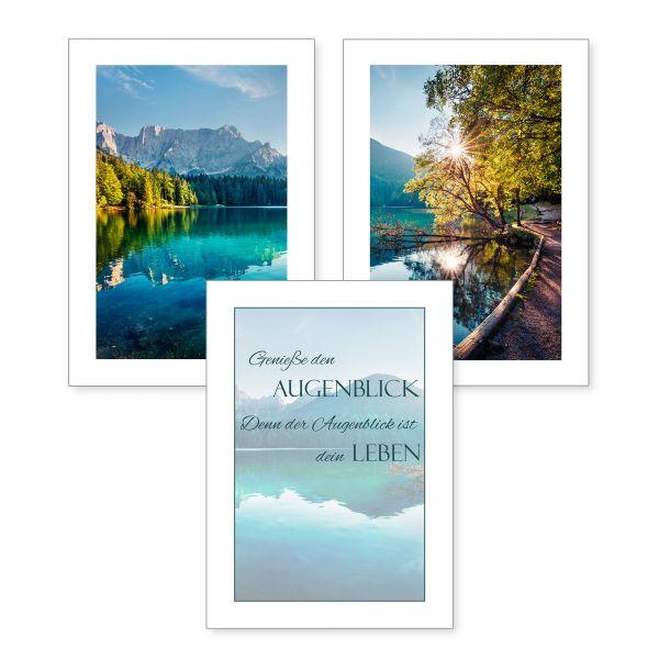 3-teiliges Poster-Set   Bergsee   optional mit Rahmen   DIN A4 oder A3
