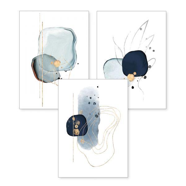 3-teiliges Poster-Set | Abstrakt blau | optional mit Rahmen | DIN A4 oder A3