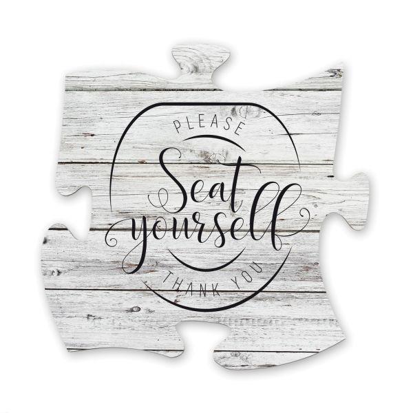 Seat Yourself | Deko-Schild Holz-Puzzleteil ca. 30cm x 30cm | Shabby Chic Design