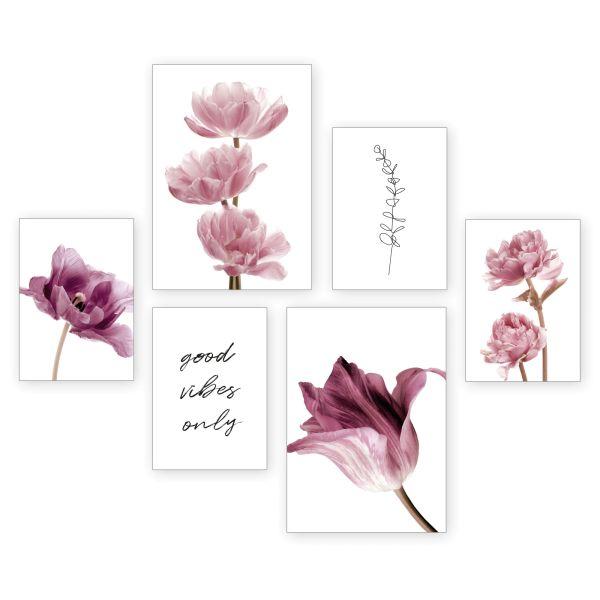 """Flowers"" 6-teiliges Poster-Set - optional mit Rahmen - 2 x DIN A3 & 4 x DIN A4"