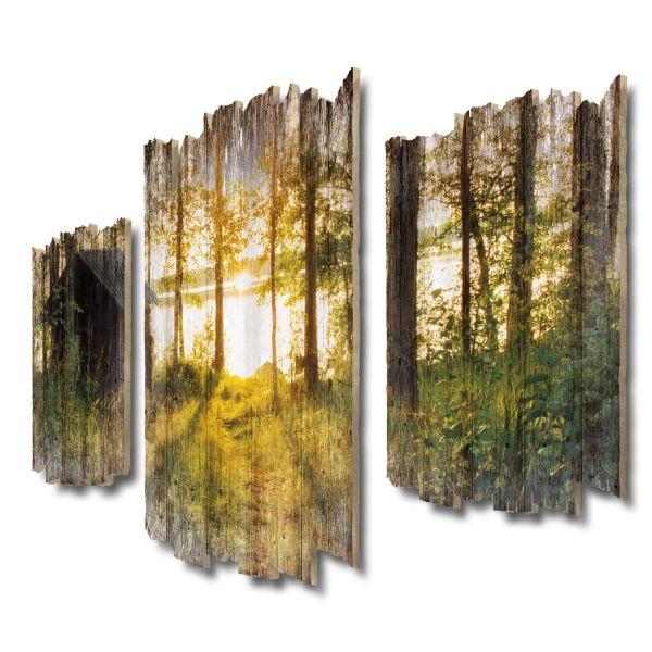 Hütte am See Shabby chic 3-Teiler Wandbild aus Massiv-Holz