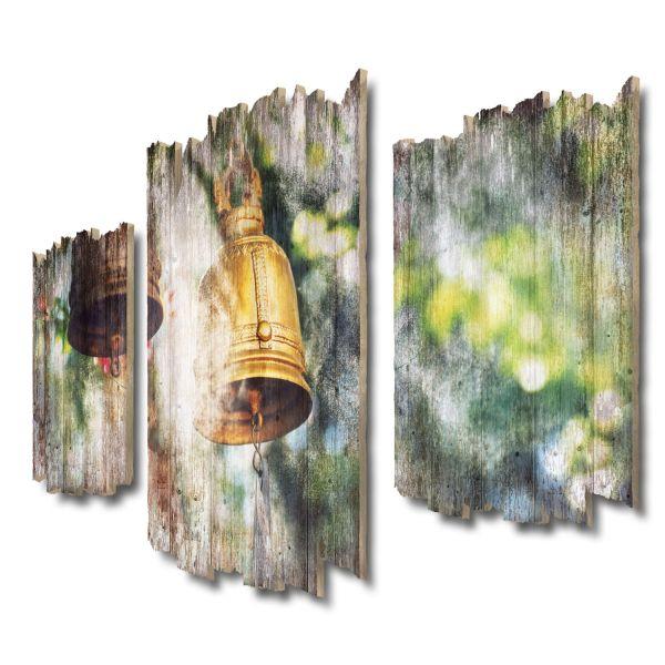 Buddhistische Kloster-Glocke Shabby chic 3-Teiler Wandbild aus Massiv-Holz