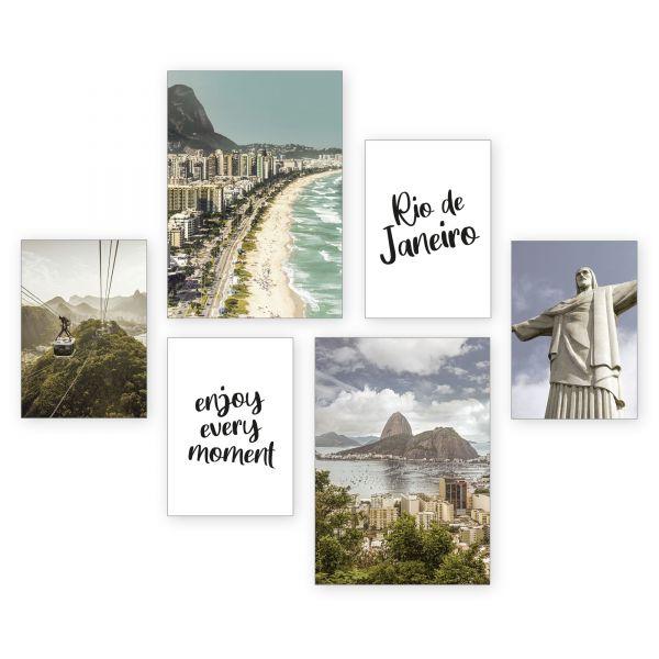 """""""Rio de Janeiro"""" 6-teiliges Poster-Set - optional mit Rahmen - 2 x DIN A3 & 4 x DIN A4"""