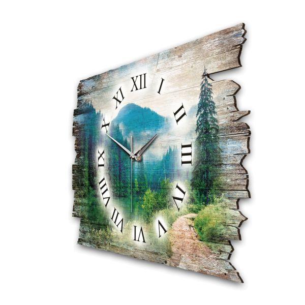 """Designer Funk-Wanduhr """"Waldsee"""" aus Naturholz wahlw. mit leisem Funk- oder Quarzuhrwerk"""