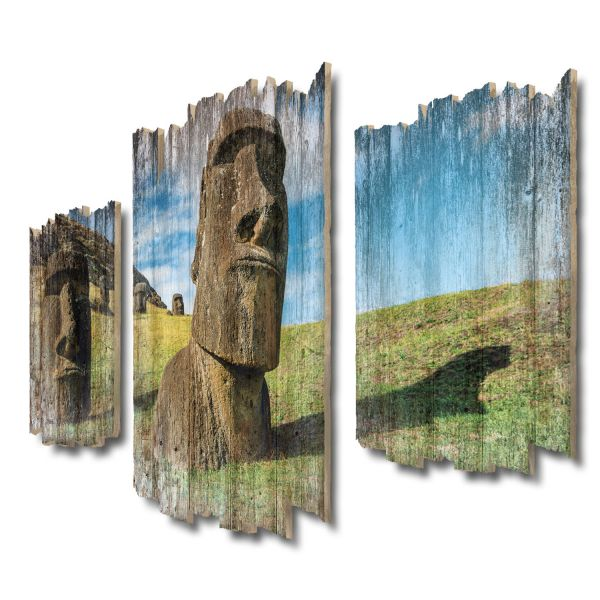 Moai Osterinseln Shabby chic 3-Teiler Wandbild aus Massiv-Holz