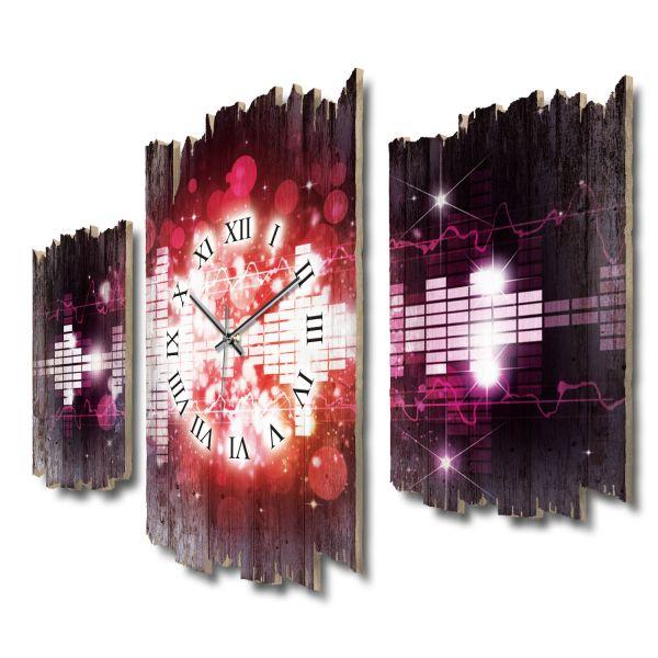 Music Night Shabby chic Dreiteilige Wanduhr aus MDF mit leisem Funk- oder Quarzuhrwerk