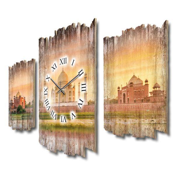 Taj Mahal Shabby chic Dreiteilige Wanduhr aus MDF mit leisem Funk- oder Quarzuhrwerk