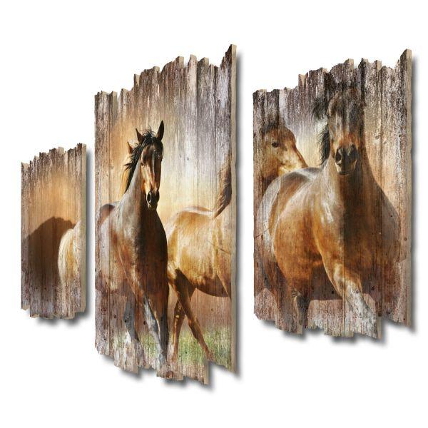 Pferdeherde Shabby chic 3-Teiler Wandbild aus Massiv-Holz