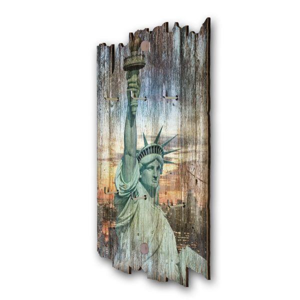 New York Schlüsselbrett mit 6 Haken im Shabby Style aus Holz