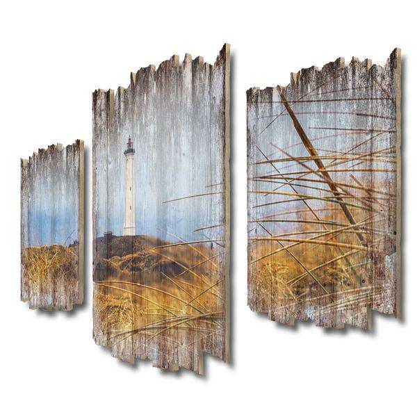 Weißer Leuchtturm Shabby chic 3-Teiler Wandbild aus Massiv-Holz