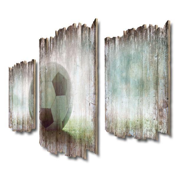 Fußball Shabby chic 3-Teiler Wandbild aus Massiv-Holz