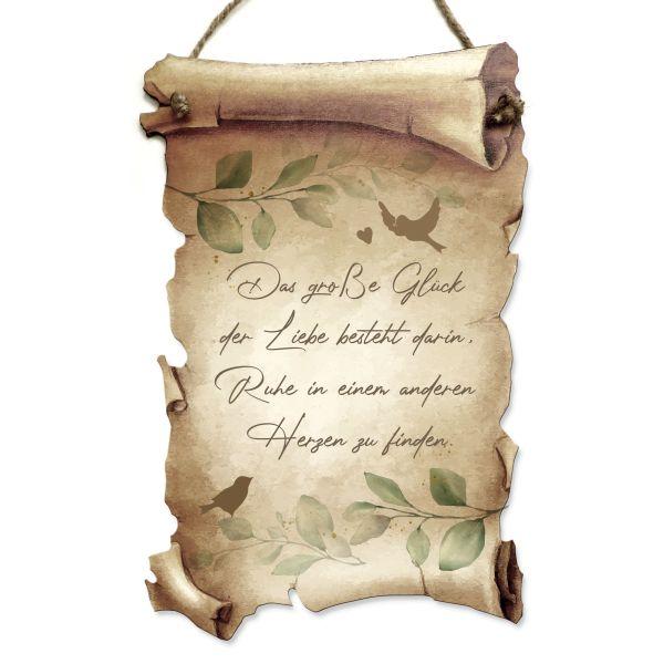 Deko-Schild aus Holz in Schriftrollen-Optik mit Spruch   Liebe   ideales Geschenk