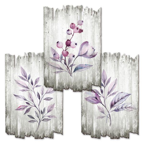 Lila   Deko-Holzschilder im 3er Set   wahlw. in 30x20cm oder 30x45cm