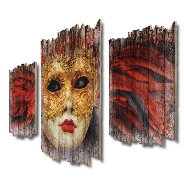 Maske Venedig Shabby chic 3-Teiler Wandbild aus Massiv-Holz