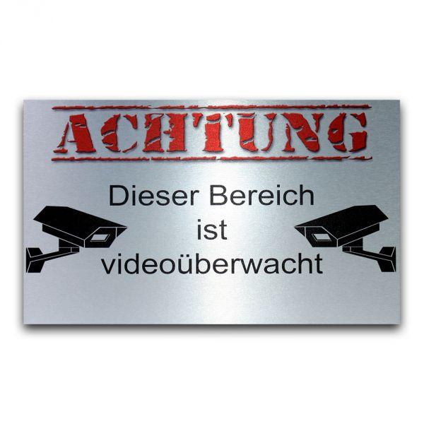 Warnschild Achtung Videoüberwacht aus gebürstetem Alu-Verbund