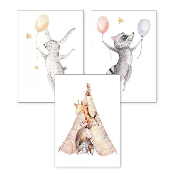 3-teiliges Poster-Set | Tiere im Zelt | optional mit Rahmen | DIN A4 oder A3
