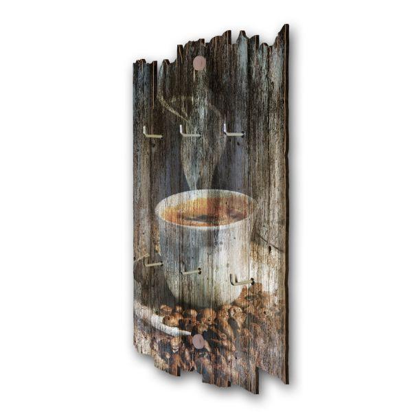 Coffee Time Schlüsselbrett mit 6 Haken im Shabby Style aus Holz