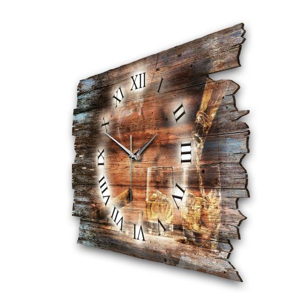 """Designer Funk-Wanduhr """"Whisky & Zigarre"""" aus Naturholz mit leisem Funk- oder Quarzuhrwerk"""