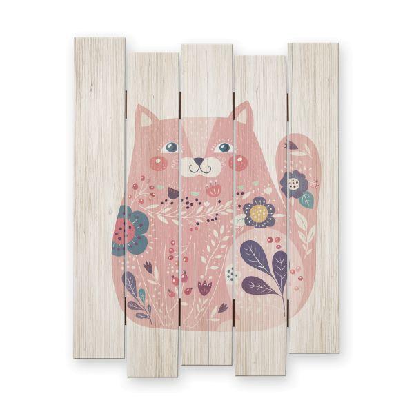 Katze floral | Shabby chic Holzbild | ca.60x44cm