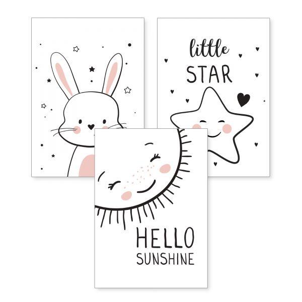 3-teiliges Poster-Set | Sunshine | optional mit Rahmen | DIN A4 oder A3