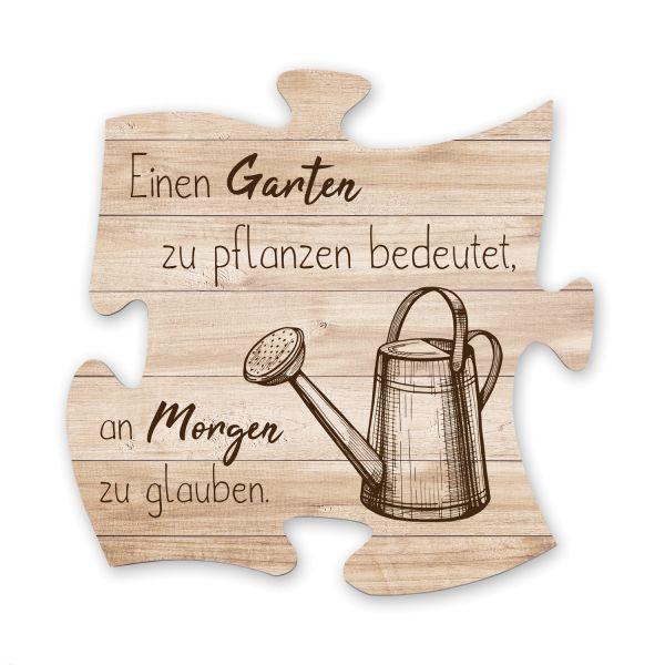 Garten | Deko-Schild Holz-Puzzleteil ca. 30cm x 30cm | Shabby Chic Design