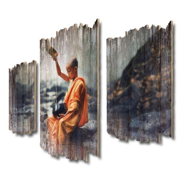 Junger Buddhist Shabby chic 3-Teiler Wandbild aus Massiv-Holz
