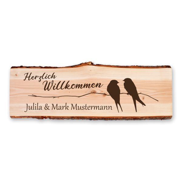 Willkommen | Holzschild personalisiert mit Ihrem Wunsch-Text | ideale Deko für die Haustür