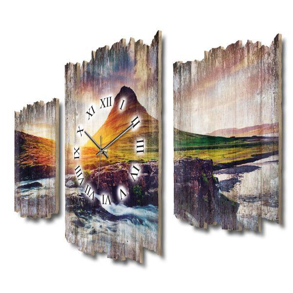 Berg Kirkjufell Sonnenuntergang Shabby chic Dreiteilige Wanduhr aus MDF mit leisem Funk- oder Quarzu