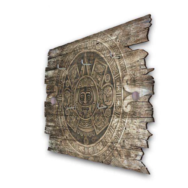Aztekenschatz Schlüsselbrett mit 5 Haken im Shabby Style aus Holz