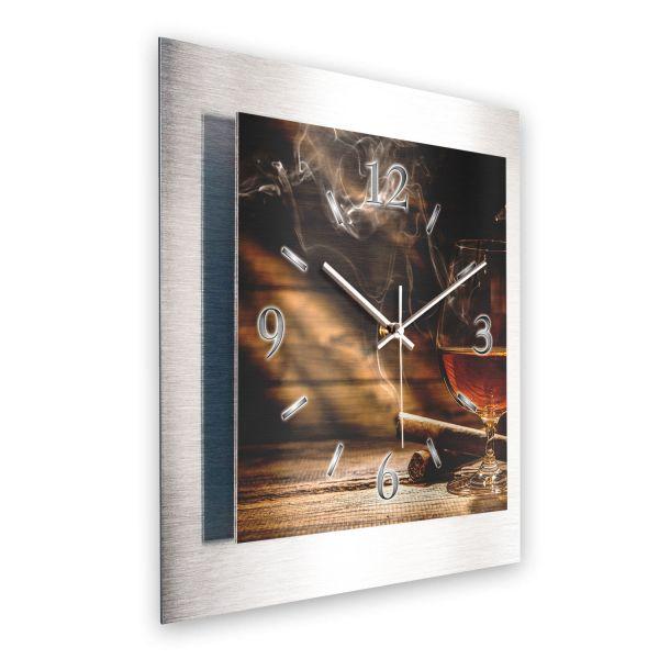 """3D Wanduhr """"Whisky und Zigarre"""" aus gebürstetem Aluminium mit leisem Funk- oder Quarzuhrwerk"""