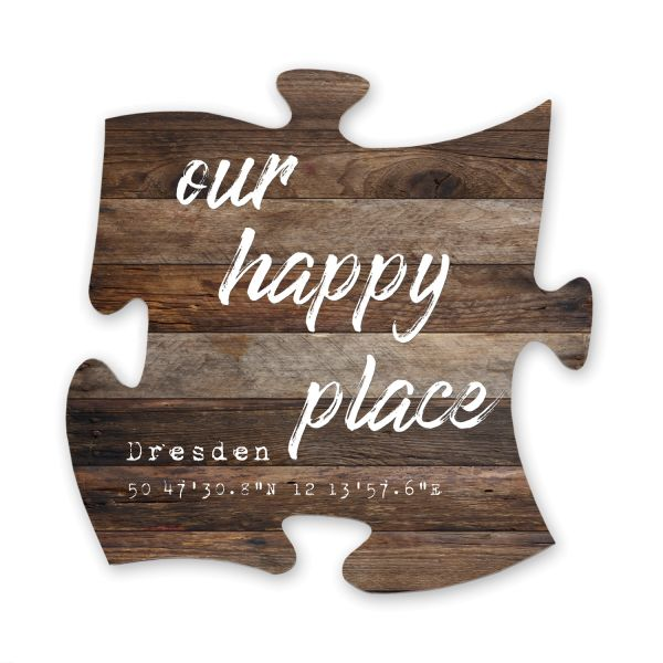 Personalisiert | Deko-Schild Holz-Puzzleteil ca. 30cm x 30cm | Shabby Chic Design