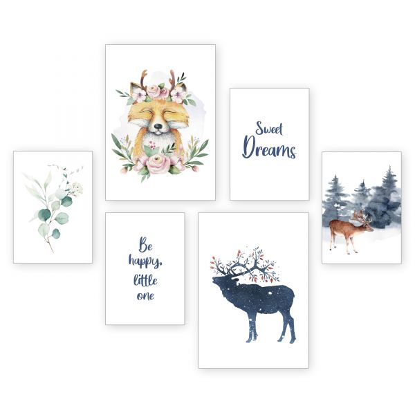 """Sweet Dreams"" 6-teiliges Poster-Set - optional mit Rahmen - 2 x DIN A3 & 4 x DIN A4"