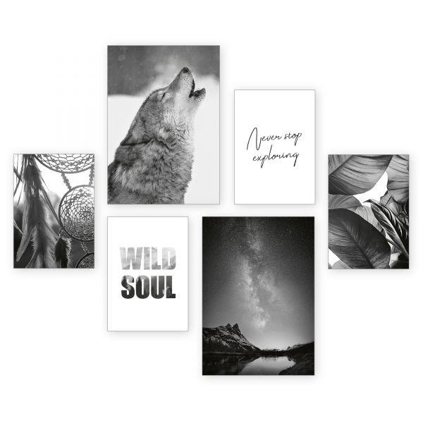 """""""Wild Soul"""" 6-teiliges Poster-Set - optional mit Rahmen - 2 x DIN A3 & 4 x DIN A4"""