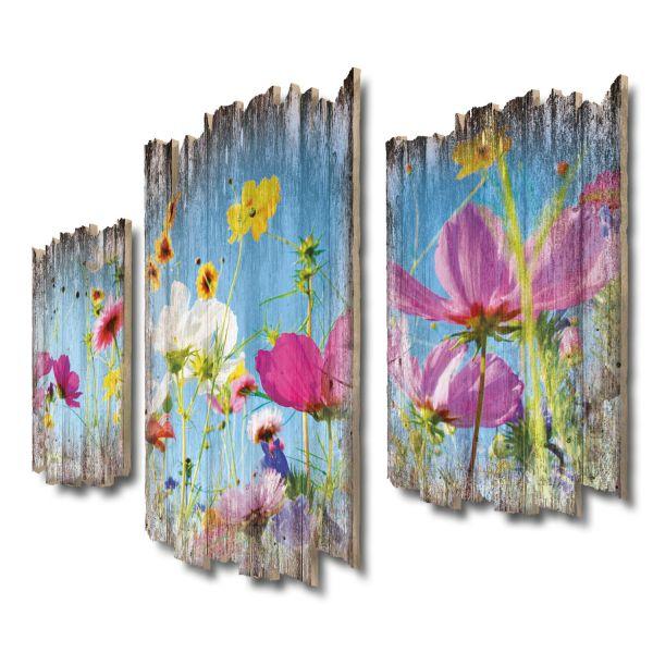 Blumenwiese Shabby chic 3-Teiler Wandbild aus Massiv-Holz