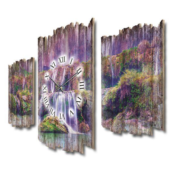 Lila Wasserfall Shabby chic Dreiteilige Wanduhr aus MDF mit leisem Funk- oder Quarzuhrwerk
