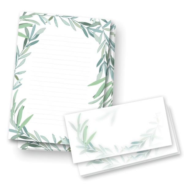 Briefpapier-Set | Grüne Blätter | 25x DIN A4 Briefpapier liniert mit passenden Umschlägen