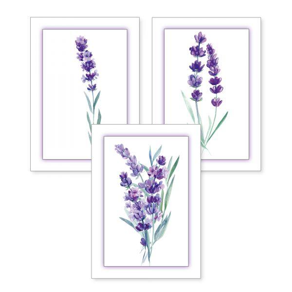 3-teiliges Poster-Set | Lavendel | optional mit Rahmen | DIN A4 oder A3