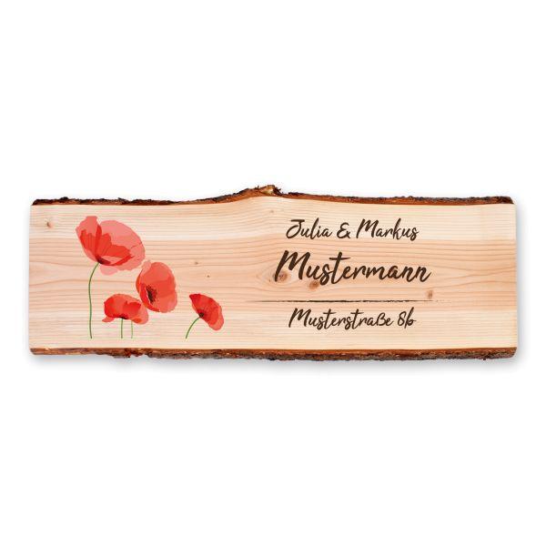 Mohnblumen | Holzschild personalisiert mit Ihrem Wunsch-Text | ideale Deko für die Haustür