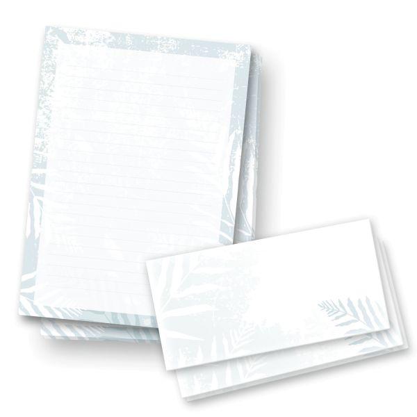 Briefpapier-Set | Kühle Blätter | 25x DIN A4 Briefpapier liniert mit passenden Umschlägen