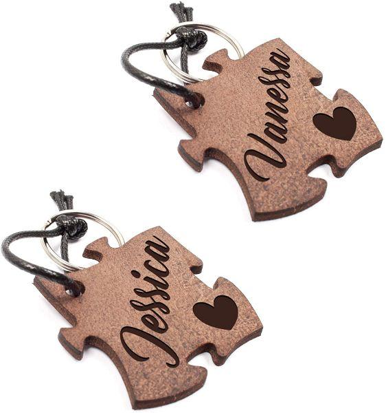 Puzzleteile | 2 Schlüsselanhänger aus Echtleder mit Gravur im Used Look | Personalisiert mit Namen