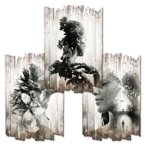 Mensch & Natur | Deko-Holzschilder im 3er Set | wahlw. in 30x20cm oder 30x45cm
