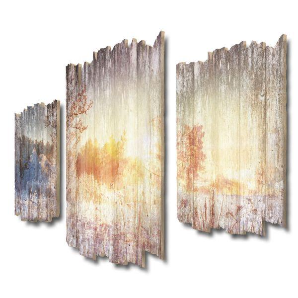 Winterspaziergang Shabby chic 3-Teiler Wandbild aus Massiv-Holz