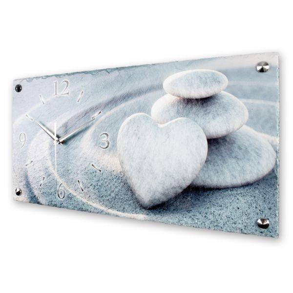 """Designer Wanduhr """"Herz Steine im Sand"""" aus echtem Naturschiefer mit leisem Funk- oder Quarzuhrwerk"""