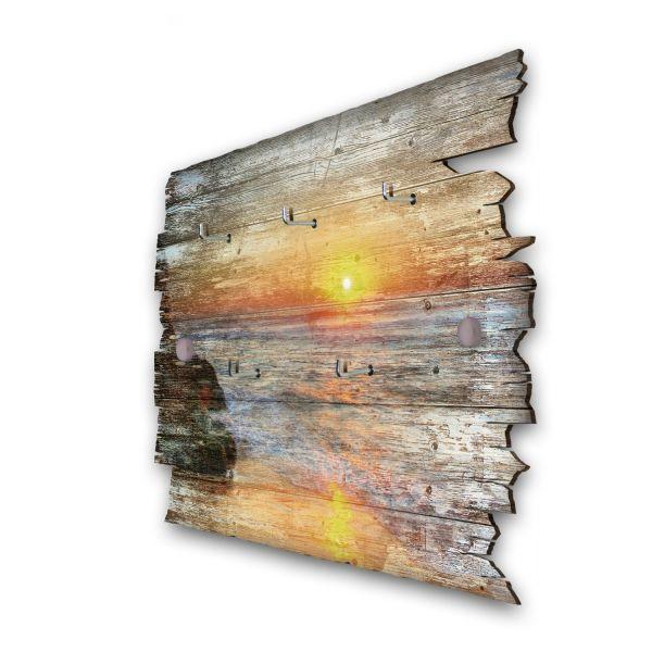 Sonnenaufgang am Meer Schlüsselbrett mit 5 Haken im Shabby Style aus Holz
