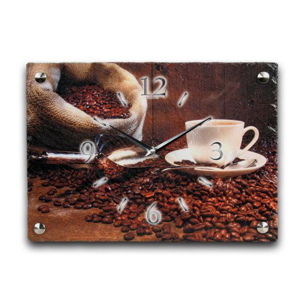 Kaffee Designer Funk-Wanduhr aus echtem Naturschiefer mit leisem Funkuhrwerk
