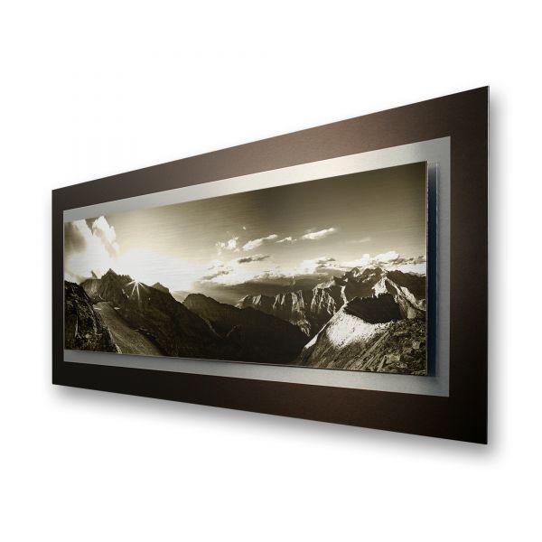 """3D Alu-Wandbild """"Bergsteigen"""" aus gebürstetem Aluminium"""