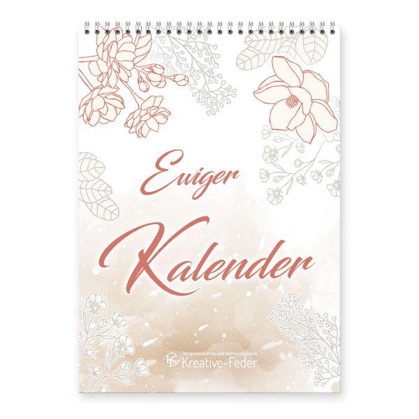 Ewiger Kalender | Blumen schlicht | immerwährend & jahresunabhängig | ideal für Geburtstage | DIN A4